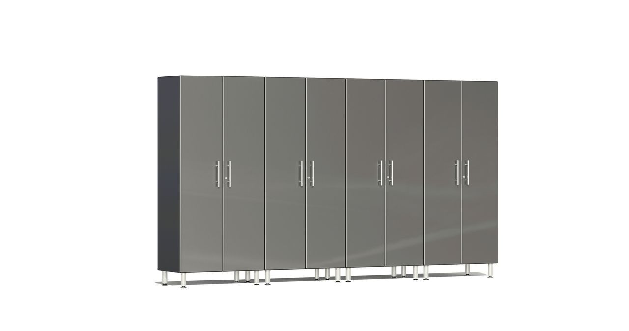 """Ulti-MATE Garage 2.0 Series takes the back-to-back Consumers Digest awarded """"Best Buy"""" cabinet line features to the next level. Four (4) piece 2-door tall modular cabinet kit offers oversized storage of nearly 12-ft for single or multi-wall designs. Metallic gloss car-like color facing, industrial strength 1-inch thick shelves, custom shop radius profile, soft-close hinges and wire-management system are a few stand-out features that will exceed any project demands in the garage or workshop."""