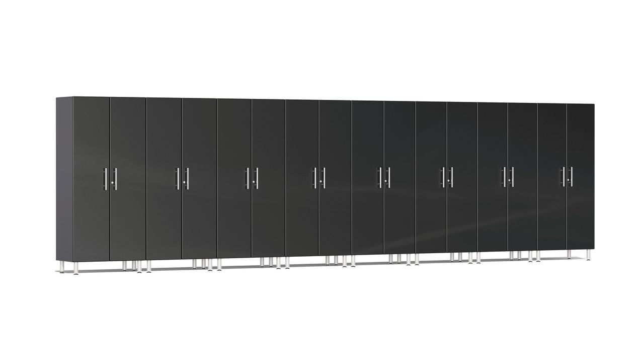 """Ulti-MATE Garage 2.0 Series takes the back-to-back Consumers Digest awarded """"Best Buy"""" cabinet line features to the next level. This eight (8) piece 2-door tall cabinet kit offers a tower of organization power.  With nearly 24-ft of one (1) or multi-wall designs and expandable option, this kit will get you clutter-free quickly. Metallic gloss car-like color facing, industrial strength 1-inch thick shelves, radius profile, soft-close hinges and contemporary style are just a few features that will exceed the most discerning project demands."""
