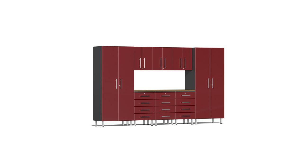Ulti-MATE Garage 2.0 Series 9-Piece Kit with Bamboo Worktop - Red (UG22092R)
