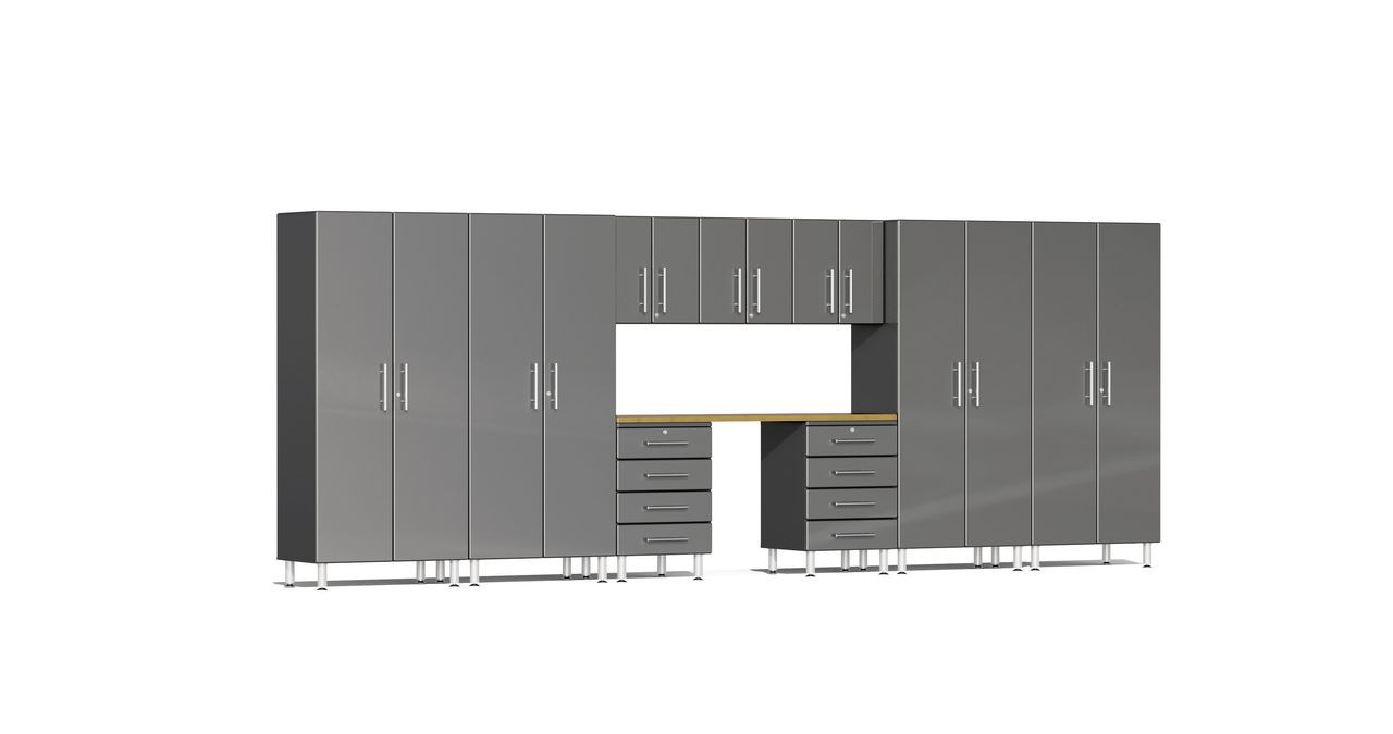Ulti-MATE Garage 2.0 Series 10-Piece Kit with Recessed Worktop - Grey (UG22102G)