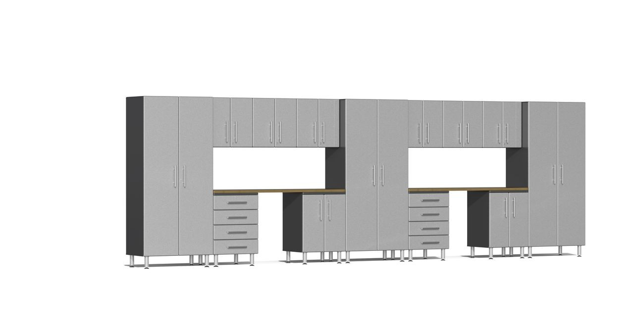 Ulti-MATE Garage 2.0 Series 15-Piece 21' Kit with Recessed Worktop - Silver (UG22152S)