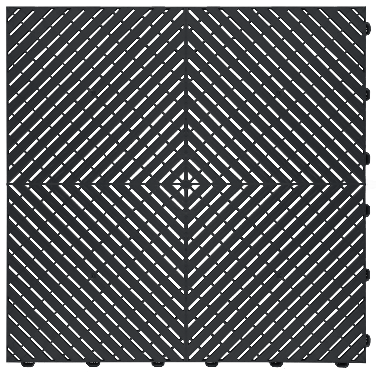 """Jet Black"" RibTrax (RT) Smooth by SwissTrax - SALE PRICE ONLY $3.96 PER SQ FT Tile Size: 15.75"" x 15.75"" x .75 (1 Tile = 1.72 sq ft)"