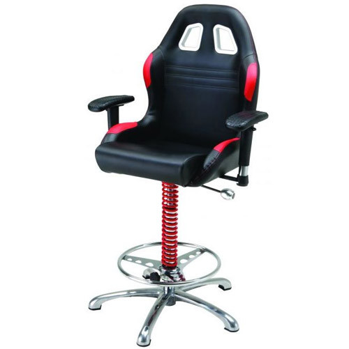 PitStop Furniture Crew Chief Bar Chair (BLACK/RED)