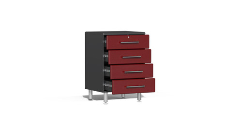 "Ulti-MATE Garage 2.0 Series takes the back-to-back Consumers Digest awarded ""Best Buy"" cabinet line features to the next level. This 4-drawer oversized base cabinet offers strength and contemporary style like no other line in marketplace. Metallic gloss car-like color facing, radius profile, wall mount and feet options, full extension ball bearing drawer glides and unique integrated recessed worktop are a few features that will make this the perfect solution for garages, workshops or business applications."