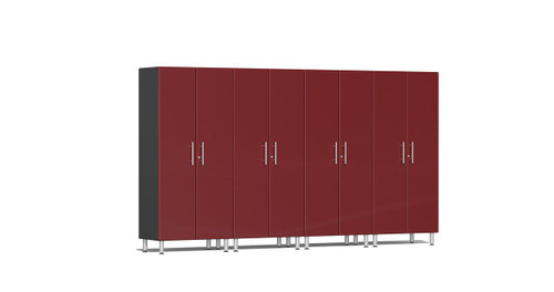 "Ulti-MATE Garage 2.0 Series takes the back-to-back Consumers Digest awarded ""Best Buy"" cabinet line features to the next level. Four (4) piece 2-door tall modular cabinet kit offers oversized storage of nearly 12-ft for single or multi-wall designs. Metallic gloss car-like color facing, industrial strength 1-inch thick shelves, custom shop radius profile, soft-close hinges and wire-management system are a few stand-out features that will exceed any project demands in the garage or workshop."