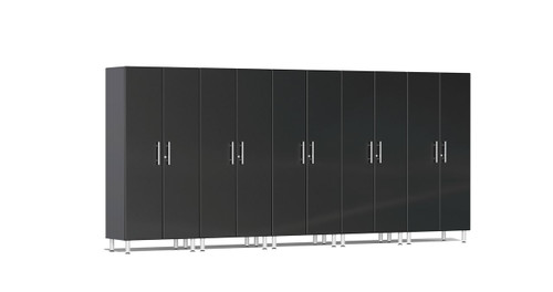 "Ulti-MATE Garage 2.0 Series takes the back-to-back Consumers Digest awarded ""Best Buy"" cabinet line features to the next level. Five (5) piece 2-door tall modular cabinet kit offers oversized storage of nearly 15-ft for single or multi-wall designs. Metallic gloss car-like color facing, industrial strength 1-inch thick shelves, custom shop radius profile, soft-close hinges and wire-management system are a few features that will exceed any project demands in the garage or workshop."
