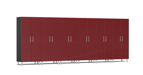 "Ulti-MATE Garage 2.0 Series takes the back-to-back Consumers Digest awarded ""Best Buy"" cabinet line features to the next level. This Six (6) piece 2-door tall cabinet kit offers oversized storage of nearly 18-ft for single or multi-wall designs. Metallic gloss car-like color facing, industrial strength 1-inch thick shelves, custom shop radius profile, soft-close hinges, locks and wire-management system are a few features that will exceed any project demands for the garage or workshop."