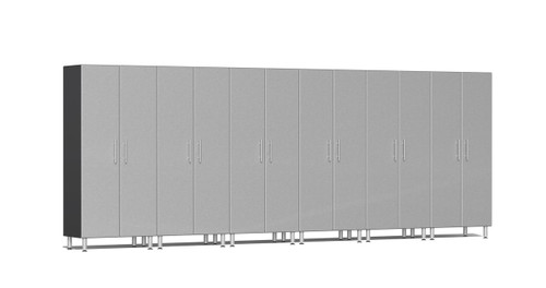"""Ulti-MATE Garage 2.0 Series takes the back-to-back Consumers Digest awarded """"Best Buy"""" cabinet line features to the next level. This Six (6) piece 2-door tall cabinet kit offers oversized storage of nearly 18-ft for single or multi-wall designs. Metallic gloss car-like color facing, industrial strength 1-inch thick shelves, custom shop radius profile, soft-close hinges, locks and wire-management system are a few features that will exceed any project demands for the garage or workshop."""