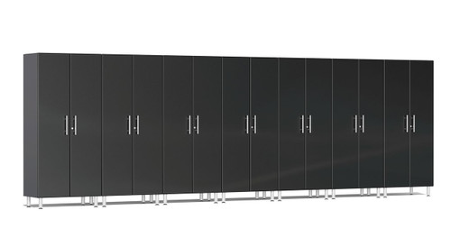 "Ulti-MATE Garage 2.0 Series takes the back-to-back Consumers Digest awarded ""Best Buy"" cabinet line features to the next level. This lucky seven (7) piece 2-door tall cabinet kit offers massive oversized storage of nearly 21-ft, perfect for one (1) or multi-wall designs to get you clutter-free in a hurry. Metallic gloss car-like color facing, industrial strength 1-inch thick shelves, radius profile, locks and wire-management system are a few features that will exceed the most discerning project demands."