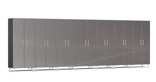 """Ulti-MATE Garage 2.0 Series takes the back-to-back Consumers Digest awarded """"Best Buy"""" cabinet line features to the next level. This lucky seven (7) piece 2-door tall cabinet kit offers massive oversized storage of nearly 21-ft, perfect for one (1) or multi-wall designs to get you clutter-free in a hurry. Metallic gloss car-like color facing, industrial strength 1-inch thick shelves, radius profile, locks and wire-management system are a few features that will exceed the most discerning project demands."""