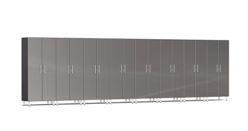 "Ulti-MATE Garage 2.0 Series takes the back-to-back Consumers Digest awarded ""Best Buy"" cabinet line features to the next level. This eight (8) piece 2-door tall cabinet kit offers a tower of organization power.  With nearly 24-ft of one (1) or multi-wall designs and expandable option, this kit will get you clutter-free quickly. Metallic gloss car-like color facing, industrial strength 1-inch thick shelves, radius profile, soft-close hinges and contemporary style are just a few features that will exceed the most discerning project demands."