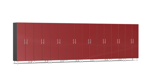 """Ulti-MATE Garage 2.0 Series takes the back-to-back Consumers Digest awarded """"Best Buy"""" cabinet line features to the next level. This lucky eight (8) piece 2-door tall cabinet kit offers massive oversized storage of nearly 21-ft, perfect for one (1) or multi-wall designs to get you clutter-free in a hurry. Metallic gloss car-like color facing, industrial strength 1-inch thick shelves, radius profile, locks and wire-management system are a few features that will exceed the most discerning project demands."""
