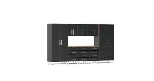 """Ulti-MATE Garage 2.0 Series takes the back-to-back Consumers Digest awarded """"Best Buy"""" cabinet line features to the next level. This nine (9) piece kit with upgraded Bamboo worktop provides versatile oversized shelf, drawer and space saving wall storage to get you clutter-free quickly. Nearly 18-ft of infinite single or multi-wall expandable design options (pictured 11.8 ft).  Metallic gloss car-like color facing, industrial strength 1-inch thick shelves, ball bearing drawer glides, soft-close hinges and contemporary style will have you stand out in the crowd."""