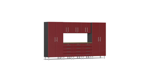Ulti-MATE Garage 2.0 Series 9-Piece 12' Kit with Bamboo Worktop - Red (UG22092R)