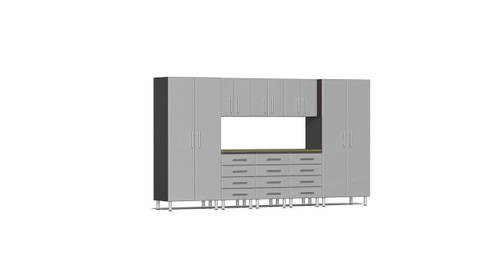 Ulti-MATE Garage 2.0 Series 9-Piece 12' Kit with Bamboo Worktop - Silver (UG22092S)