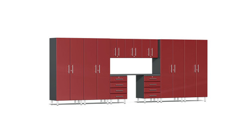 Ulti-MATE Garage 2.0 Series 10-Piece 18' Kit with Recessed Worktop - Red (UG22101R)