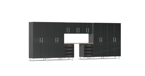 Ulti-MATE Garage 2.0 Series 10-Piece 18' Kit with Recessed Worktop - Black (UG22102B)