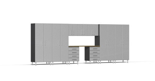 Ulti-MATE Garage 2.0 Series 10-Piece 18' Kit with Recessed Worktop - Silver (UG22102S)