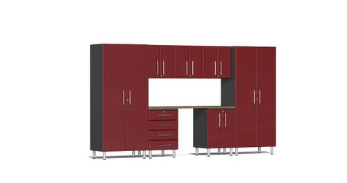 Ulti-MATE Garage 2.0 Series 8-Piece Kit with Bamboo Worktop - Red (UG22082R)
