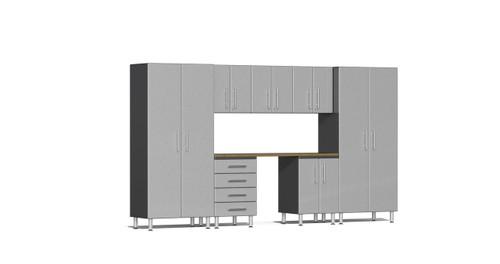 Ulti-MATE Garage 2.0 Series 8-Piece Kit with Bamboo Worktop - Silver (UG22082S)