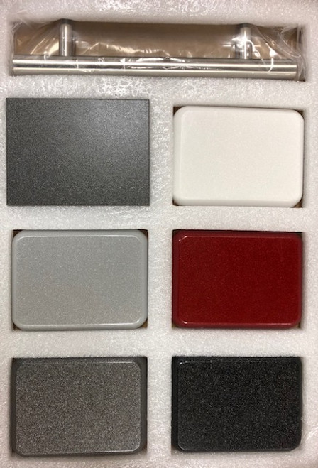 Featuring all Five Color Finish Samples, cabinet box sample and Handle Sample. In Order top left to right:  Brushed Metal Handle