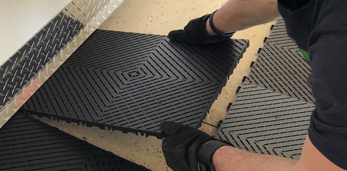 """""""Jet Black"""" Ribtrax Smooth Pro by SwissTrax (6-Pack) - SALE PRICE ONLY $4.20 PER SQ FT Tile Size: 15.75"""" x 15.75"""" x .75 (1 Tile = 1.72 sq ft)"""