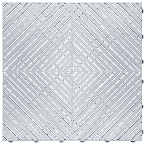 """Pearl Silver"" RibTrax (RT) Smooth by SwissTrax - SALE PRICE ONLY $3.96 PER SQ FT Tile Size: 15.75"" x 15.75"" x .75 (1 Tile = 1.72 sq ft)"