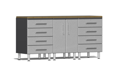 Four (4) piece workstation provides two (2) 4-drawer cabinets, one (1) 2-door cabinet and upgraded solid bamboo worktop. Contemporary metallic car color gloss facing over Grey cabinet, industrial strength and high-end hardware are just a few features that make this the choice for garages, workshops and business applications looking to stand out from the crowd.