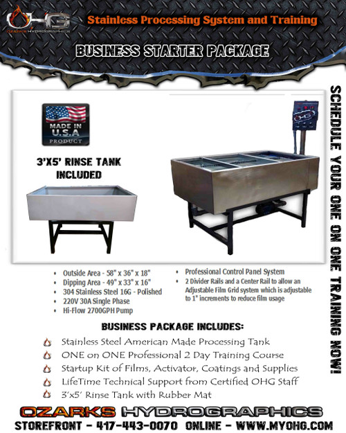 Business Starter Package -  Stainless Tank, Rinse Tank & Training