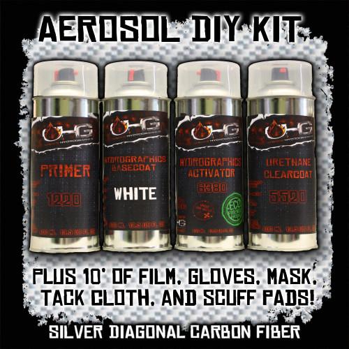 Aerosol DIY Dip Kit -  Silver Diagonal Carbon Fiber