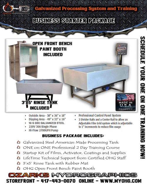 Business Starter Package with Open Front Bench Paint Booth -  Hydrographics Tank, Rinse Tank & Training