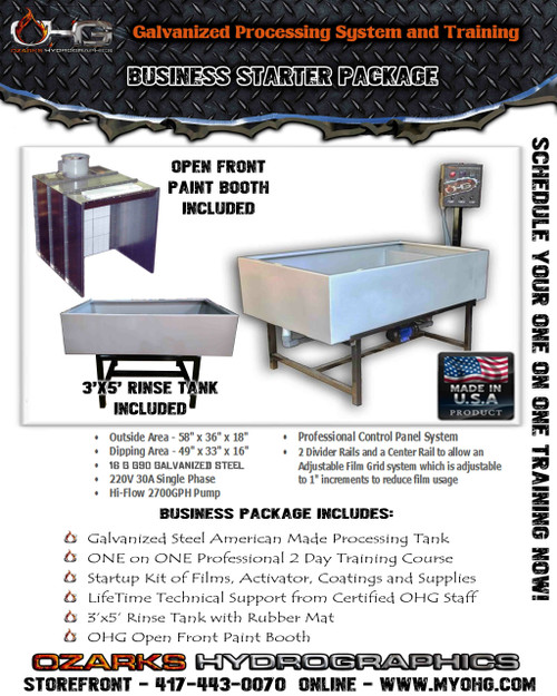 Business Starter Package with Open Front Paint Booth -  Hydrographics Tank, Rinse Tank & Training