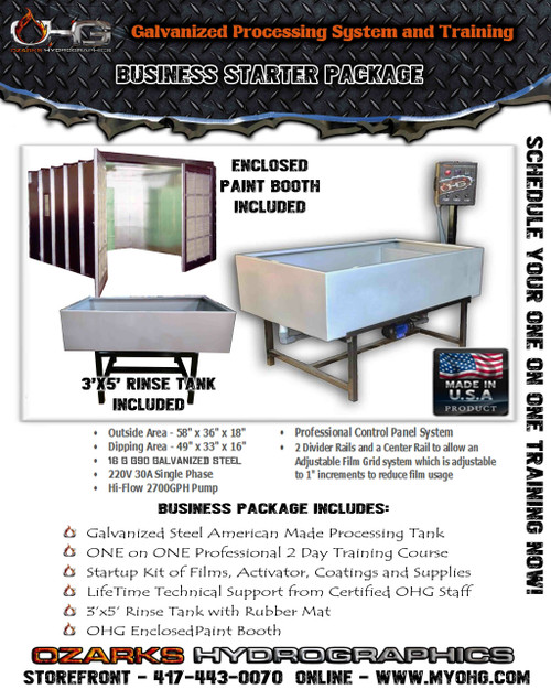 Business Starter Package with Enclosed Paint Booth -  Hydrographics Tank, Rinse Tank & Training