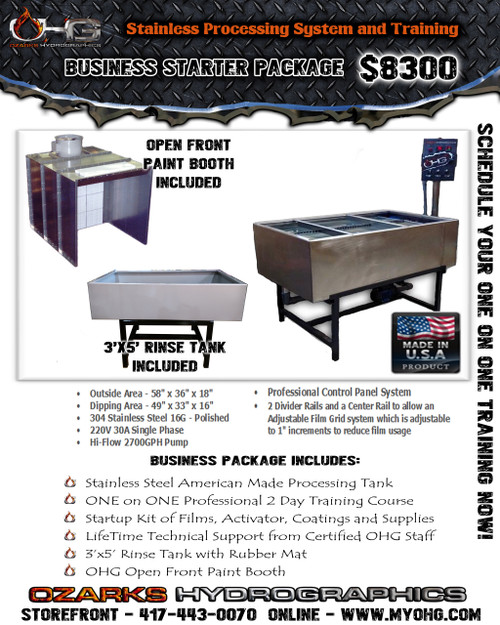 Business Starter Package with Open Front Paint Booth -  Stainless Hydrographics Tank, Rinse Tank & Training