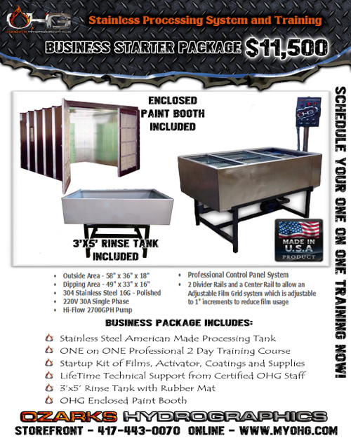 Business Starter Package with Enclosed Paint Booth -  Stainless Hydrographics Tank, Rinse Tank & Training