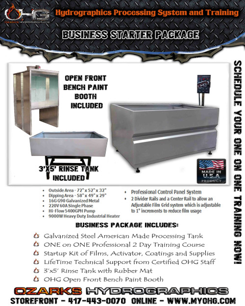 Business Starter Package with Open Front Bench Paint Booth  -  6' Hydrographics Tank, Rinse Tank & Training