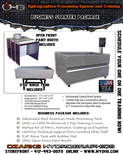 Business Starter Package with Open Front Paint Booth  -  6' Hydrographics Tank, Rinse Tank & Training