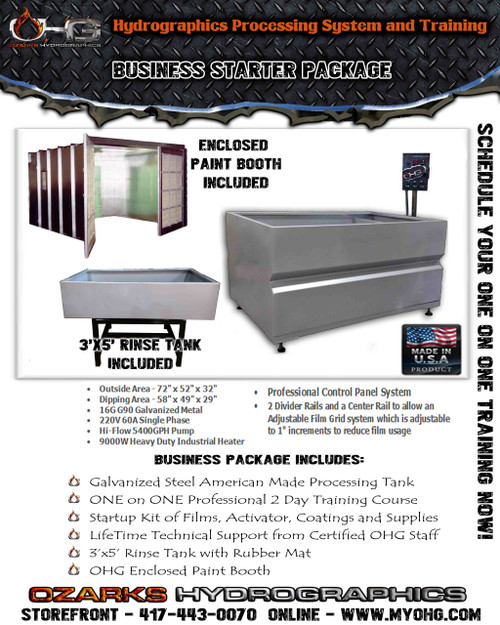 Business Starter Package with Enclosed Paint Booth  -  6' Hydrographics Tank, Rinse Tank & Training
