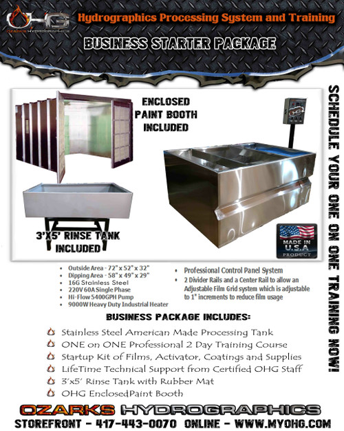 Business Starter Package with Enclosed Paint Booth  -  Stainless Steel 6' Hydrographics Tank, Rinse Tank & Training