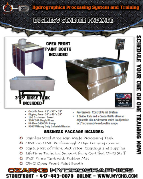 Business Starter Package with Open Front Paint Booth  -  Stainless Steel 6' Hydrographics Tank, Rinse Tank & Training