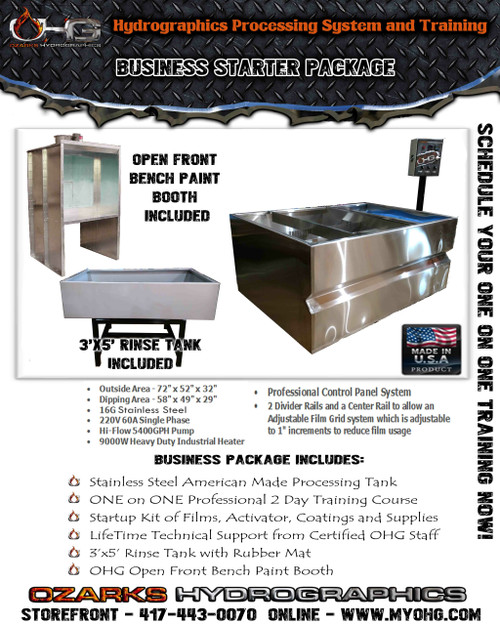 Business Starter Package with Open Front Bench Paint Booth  -  Stainless Steel 6' Hydrographics Tank, Rinse Tank & Training