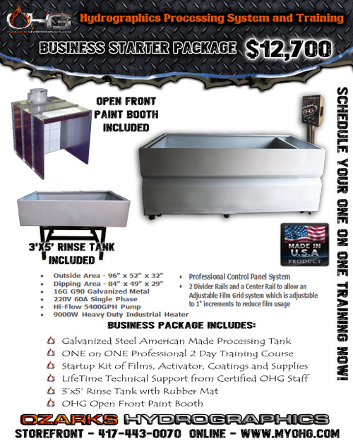 Business Starter Package with Open Front Paint Booth  -  8' Hydrographics Tank, Rinse Tank, supplies  & Training