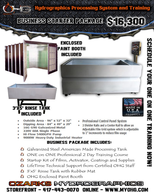 Business Starter Package with Enclosed Paint Booth  -  8' Hydrographics Tank, Rinse Tank, supplies  & Training