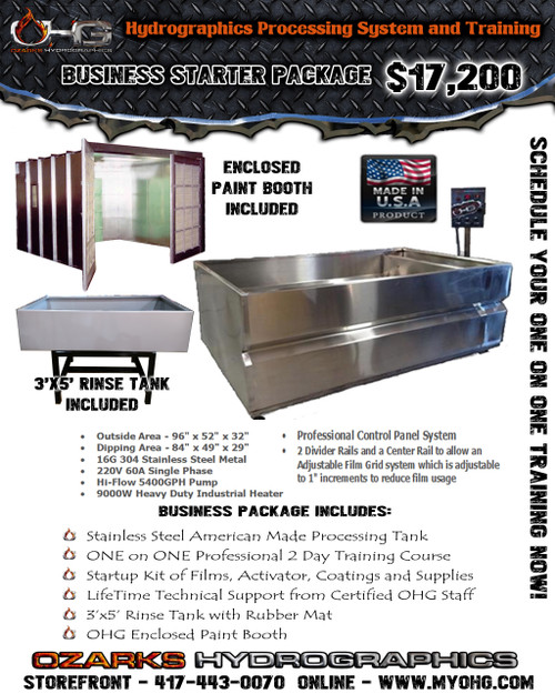 Business Starter Package with Enclosed Paint Booth  -  Stainless Steel 8' Hydrographics Tank, Rinse Tank, supplies  & Training