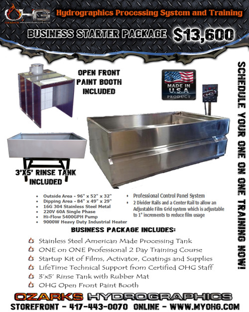 Business Starter Package with Open Front Paint Booth  -  Stainless Steel 8' Hydrographics Tank, Rinse Tank, supplies  & Training