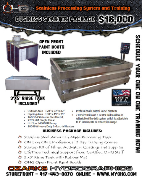 Business Starter Package with Open Front Paint Booth  -  Stainless Steel 10' Hydrographics Tank, Rinse Tank, supplies  & Training