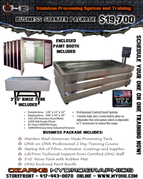 Business Starter Package with Enclosed Paint Booth  -  Stainless Steel 10' Hydrographics Tank, Rinse Tank, supplies  & Training