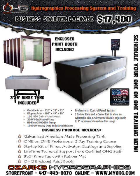 Business Starter Package with Enclosed Paint Booth  - 10' Hydrographics Tank, Rinse Tank, supplies  & Training