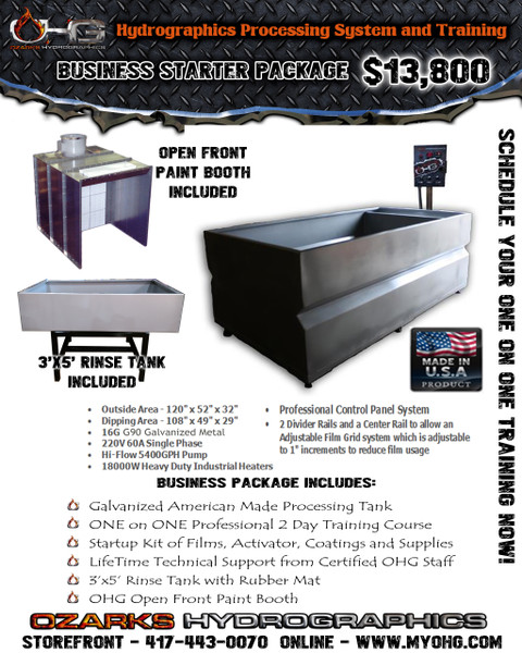 Business Starter Package with Open Front Paint Booth  - 10' Hydrographics Tank, Rinse Tank, supplies  & Training