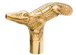 Alligator Brass Cane Handle